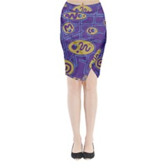 Purple And Yellow Abstraction Midi Wrap Pencil Skirt