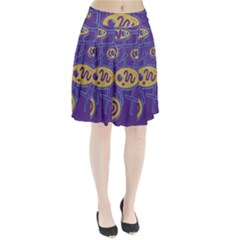 Purple and yellow abstraction Pleated Skirt