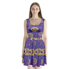 Purple and yellow abstraction Split Back Mini Dress
