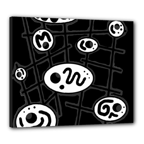Black and white crazy abstraction  Canvas 24  x 20