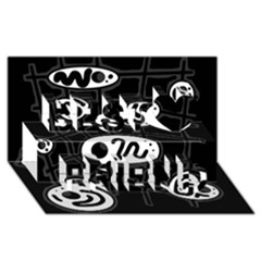 Black and white crazy abstraction  Best Friends 3D Greeting Card (8x4)