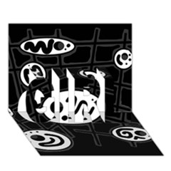 Black And White Crazy Abstraction  Girl 3d Greeting Card (7x5)