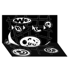 Black and white crazy abstraction  Twin Hearts 3D Greeting Card (8x4)