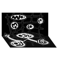 Black and white crazy abstraction  Twin Heart Bottom 3D Greeting Card (8x4)