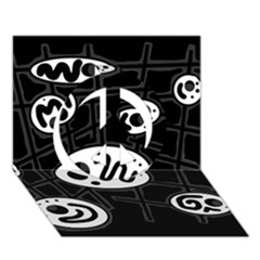 Black and white crazy abstraction  Peace Sign 3D Greeting Card (7x5)
