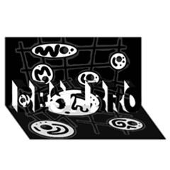 Black and white crazy abstraction  BEST BRO 3D Greeting Card (8x4)