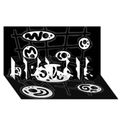 Black and white crazy abstraction  BEST SIS 3D Greeting Card (8x4)