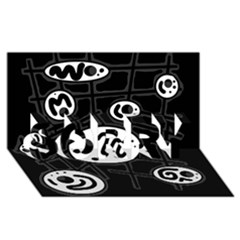 Black and white crazy abstraction  SORRY 3D Greeting Card (8x4)