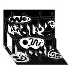 Black and white crazy abstraction  You Rock 3D Greeting Card (7x5)