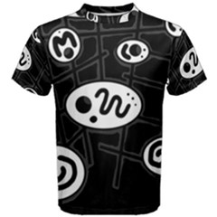 Black and white crazy abstraction  Men s Cotton Tee