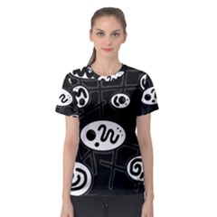 Black and white crazy abstraction  Women s Sport Mesh Tee