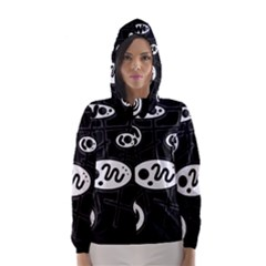 Black and white crazy abstraction  Hooded Wind Breaker (Women)