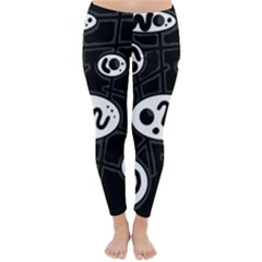 Black and white crazy abstraction  Winter Leggings