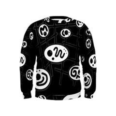 Black and white crazy abstraction  Kids  Sweatshirt