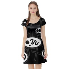 Black and white crazy abstraction  Short Sleeve Skater Dress
