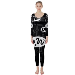 Black and white crazy abstraction  Long Sleeve Catsuit