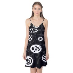 Black and white crazy abstraction  Camis Nightgown
