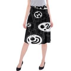 Black and white crazy abstraction  Midi Beach Skirt