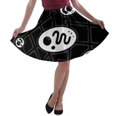 Black and white crazy abstraction  A-line Skater Skirt