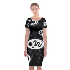 Black And White Crazy Abstraction  Classic Short Sleeve Midi Dress