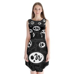 Black and white crazy abstraction  Sleeveless Chiffon Dress