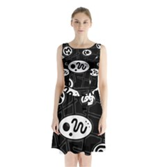 Black And White Crazy Abstraction  Sleeveless Chiffon Waist Tie Dress