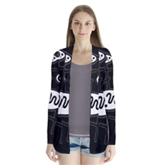 Black and white crazy abstraction  Drape Collar Cardigan