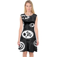 Black And White Crazy Abstraction  Capsleeve Midi Dress