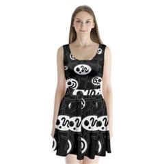 Black and white crazy abstraction  Split Back Mini Dress