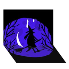 Halloween witch - blue moon Apple 3D Greeting Card (7x5)