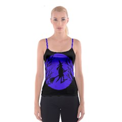 Halloween witch - blue moon Spaghetti Strap Top