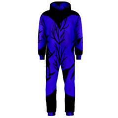 Halloween witch - blue moon Hooded Jumpsuit (Men)