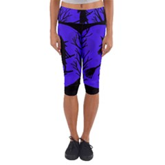 Halloween witch - blue moon Capri Yoga Leggings