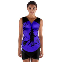 Halloween witch - blue moon Wrap Front Bodycon Dress