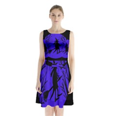 Halloween witch - blue moon Sleeveless Chiffon Waist Tie Dress