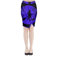 Halloween witch - blue moon Midi Wrap Pencil Skirt