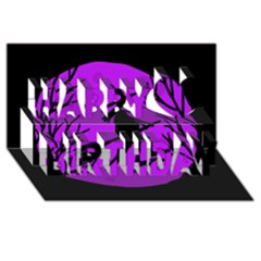 Halloween witch - Purple moon Happy Birthday 3D Greeting Card (8x4)