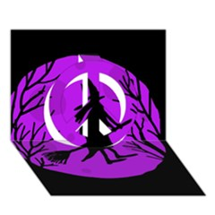 Halloween witch - Purple moon Peace Sign 3D Greeting Card (7x5)