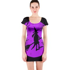 Halloween witch - Purple moon Short Sleeve Bodycon Dress