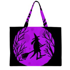 Halloween Witch   Purple Moon Zipper Large Tote Bag