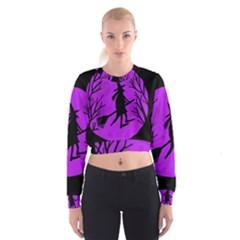 Halloween witch - Purple moon Women s Cropped Sweatshirt
