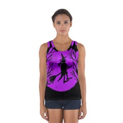 Halloween witch - Purple moon Women s Sport Tank Top