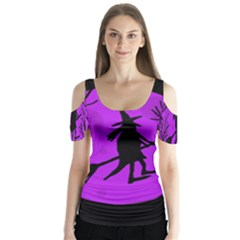 Halloween witch - Purple moon Butterfly Sleeve Cutout Tee