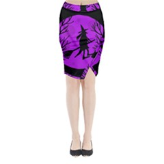 Halloween Witch   Purple Moon Midi Wrap Pencil Skirt