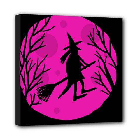 Halloween witch - pink moon Mini Canvas 8  x 8