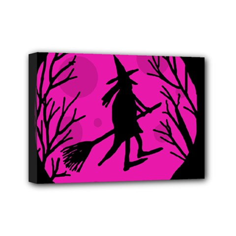 Halloween witch - pink moon Mini Canvas 7  x 5