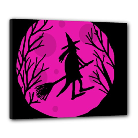 Halloween witch - pink moon Canvas 20  x 16