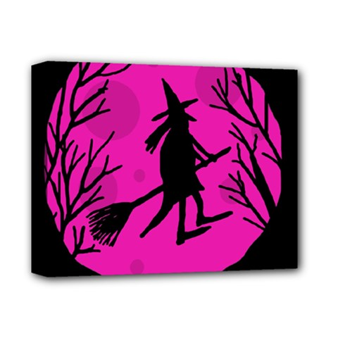 Halloween witch - pink moon Deluxe Canvas 14  x 11