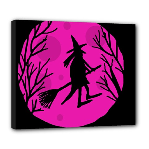 Halloween witch - pink moon Deluxe Canvas 24  x 20