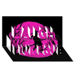 Halloween witch - pink moon Laugh Live Love 3D Greeting Card (8x4)